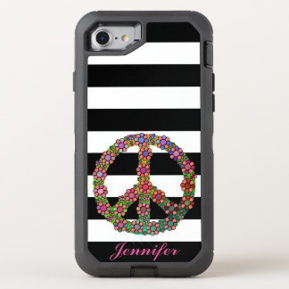 Peace Symbol Flower Floral Black White Stripes OtterBox Defender iPhone 7 Case