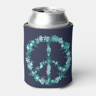Peace symbol flower power can cooler