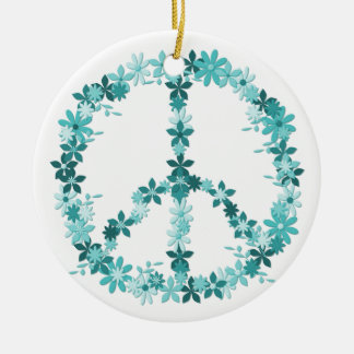 Peace symbol flower power christmas ornament