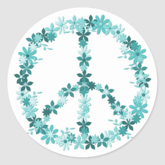 Peace symbol flower power classic round sticker