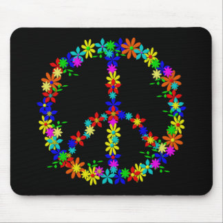 Peace symbol flower power mouse pad