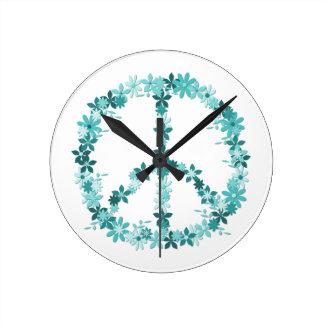 Peace symbol flower power round clock