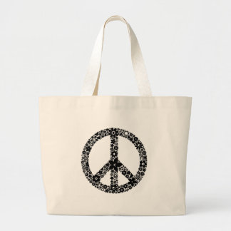 Peace Symbol flowers Large Tote Bag