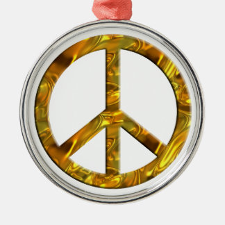 PEACE symbol - GOLD Round Metal Christmas Ornament