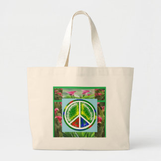 PEACE SYMBOL :  Green Artistic Flowers Canvas Bag