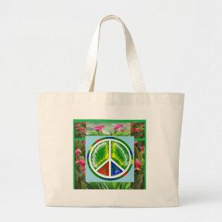 PEACE SYMBOL :  Green Artistic Flowers Canvas Bag