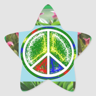 PEACE SYMBOL :  Green Artistic Flowers Star Sticker