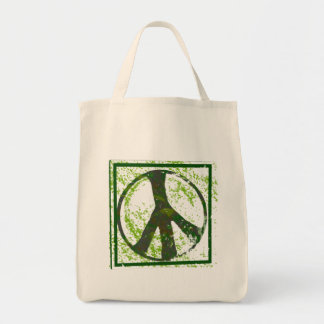 Peace Symbol Grunge Organic Grocery Tote Bag