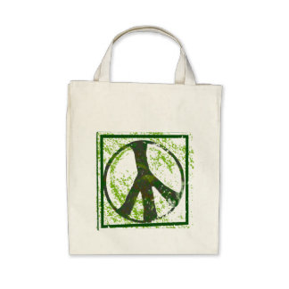 Peace Symbol Grunge Organic Grocery Tote Bag