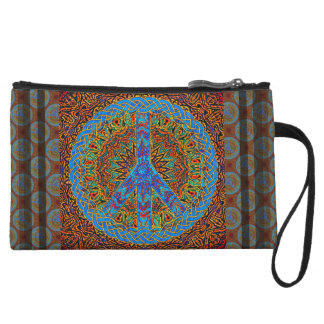 Peace Symbol in brown and blue pattern Wristlet Clutches