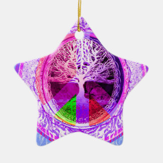 Peace Symbol in Rainbow Colors Christmas Ornament