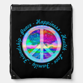 Peace Symbol in Rainbow Colors with Tree of Life Drawstring Bags