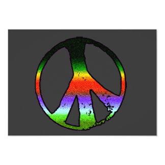 Peace Symbol in Rainbow Glitter 13 Cm X 18 Cm Invitation Card