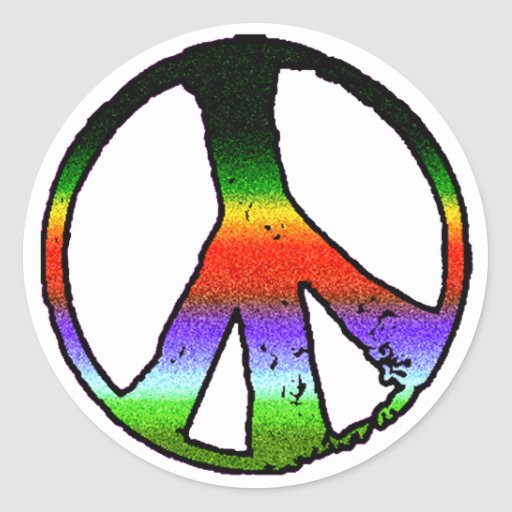 Peace Symbol in Rainbow Glitter Round Sticker