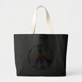 Peace Symbol in Rainbow Glitter Tote Bags