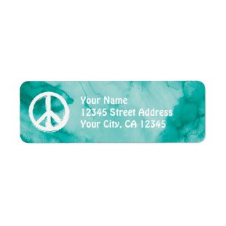 Peace Symbol in White on Watercolor Return Address Label