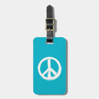 Peace Symbol in White on Your Color Choice Luggage Tag