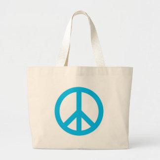 Peace Symbol - Light Blue Large Tote Bag