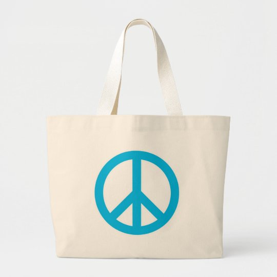 Peace Symbol - Light Blue Large Tote Bag