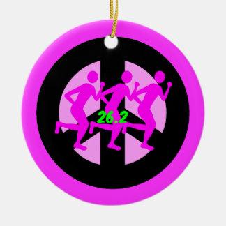 Peace symbol marathon christmas ornament