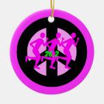 Peace symbol marathon christmas tree ornaments