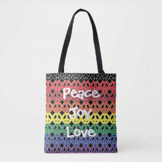 Peace Symbol Rainbow Peace Joy Love Tote Bag