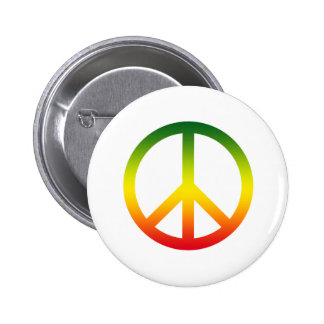 Peace Symbol Rasta Button