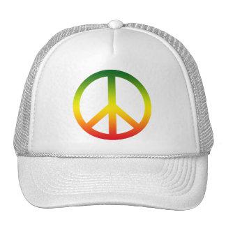 Peace Symbol Rasta Mesh Hat