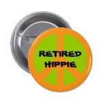 Peace Symbol, Retired Hippie, pinback button. 6 Cm Round Badge