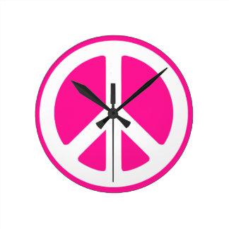 Peace Symbol Round Clock