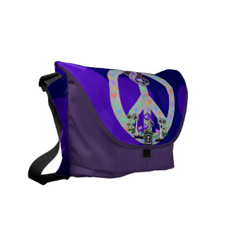 Peace Symbol Snake Courier Bags