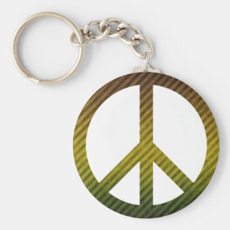 Peace Symbol Striped Dark Green and Yellow Basic Round Button Key Ring
