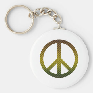 Peace Symbol Striped Dark Green and Yellow Keychain