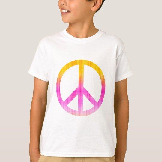 Peace Symbol Textured Pink and Orange T-Shirt