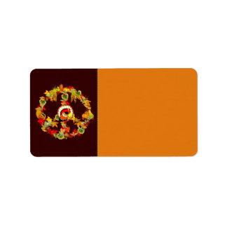 Peace Symbol Thanksgiving Turkey Address Label