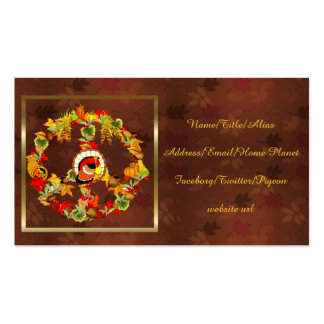 Peace Symbol Thanksgiving Turkey Pack Of Standard Business Cards