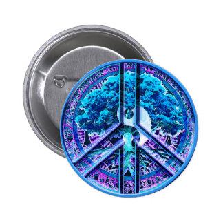 Peace Symbol Tree of Life Yin Yang 6 Cm Round Badge
