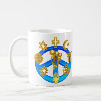 Peace Symbol Uniting All World Religions Basic White Mug