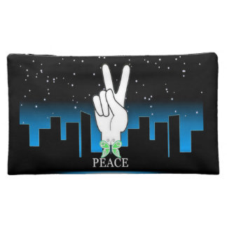 Peace Symbol with a City Background Cosmetic Bag