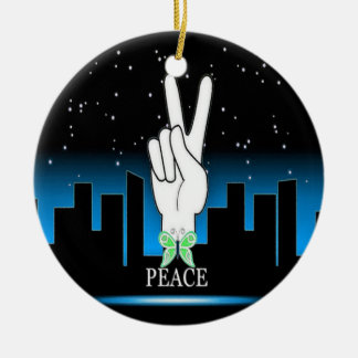Peace Symbol with a City Background Round Ceramic Decoration
