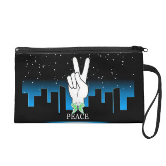 Peace Symbol with a City Background Wristlet