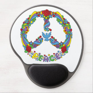 Peace symbol with flowers and stars pop-art style gel mouse pad