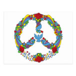 Peace symbol with flowers and stars pop-art style postcard