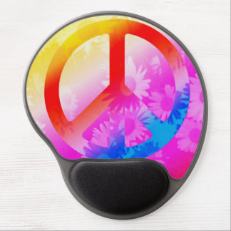 peace symbol with flowers in nice girly colors gel mouse pad