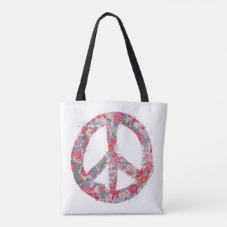 Peace Symbol with Flowers Tote Bag