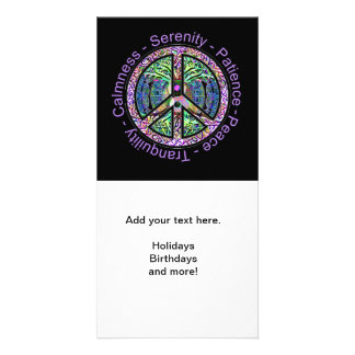 Peace Symbol with Peace, Harmony, Balance Photo Cards