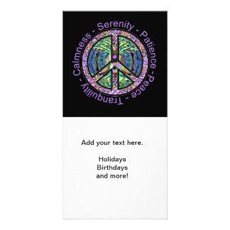 Peace Symbol with Peace, Harmony, Balance Photo Cards