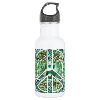 Peace Symbol, Yin Yang, Tree of Life in Green 532 Ml Water Bottle