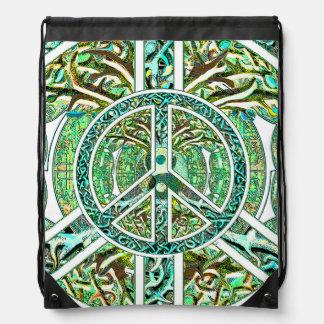 Peace Symbol, Yin Yang, Tree of Life in Green Drawstring Backpacks