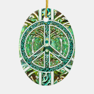 Peace Symbol, Yin Yang, Tree of Life in Green Christmas Ornament